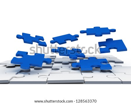 Complexity of blue jigsaw puzzle pieces, isolated on white background.