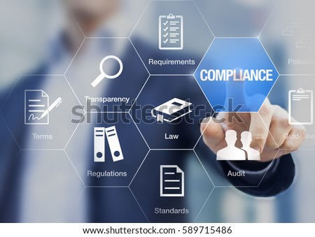 Compliance concept with icons for regulations, law, standards, requirements and audit on a virtual screen with a business person touching a button Stock photo ©