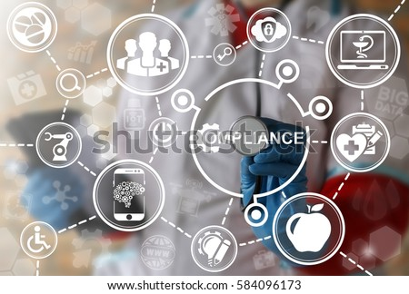 Compliance medicine health care integration computing concept. Doctor touched icon compliance gear on virtual screen. Medical governance automation robotic modernization healthy strategy, technology