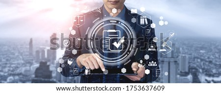 Compliance rule law and regulation graphic interface for business quality policy planning to meet international standard. Photo stock ©