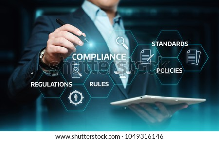 Compliance Rules Law Regulation Policy Business Technology concept. - Shutterstock ID 1049316146