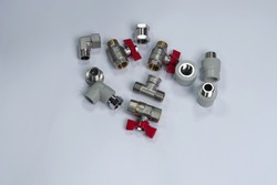 Components for plumbing and heating systems, fittings and range of spare parts for hydraulic communications. Brass taps, PPR fittings hoses for connection of sanitary devices. Shut-off valve for heati