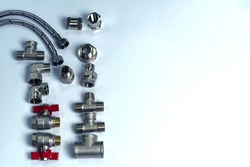 Components for plumbing and heating systems, fittings and range of spare parts for hydraulic communications. , PPR fittings hoses for connection of sanitary devices. Shut-off valve for heating, shut-o