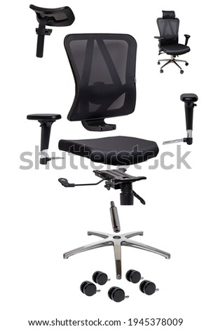 Components of an office chair. Closeup of a complete set of spare parts for assembly of an computer or office chair isolated on a white background. Stockfoto ©