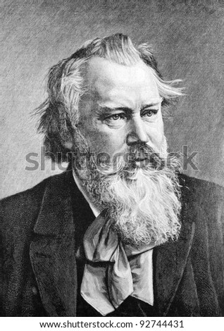 "Composer Johannes Brahms. Engraving on steel by from Penne. Published in magazine ""Niva"", publishing house A.F. Marx, St. Petersburg, Russia, 1893"