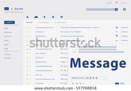 Composing an email web interface