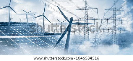 Composing with wind turbines, solar panels and electricity pylons Photo stock ©
