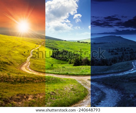 composite day and night landscape. fence near the cross road on hillside meadow in mountains. few fir trees of forest  on sides of the road