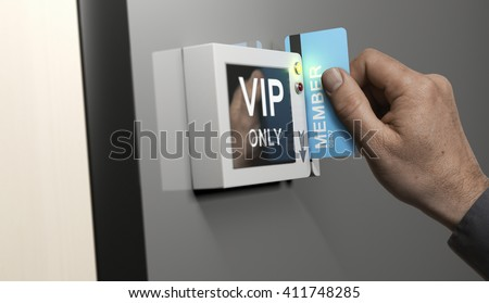 Composite image between photography and 3D background. Hand with blue card key unlocking access to VIP area. Concept of customers exclusive privileges.