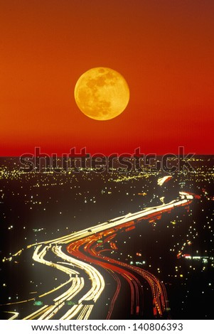 Composite Image - Moonrise over the Harbor Freeway/Route 10, Los Angeles, California