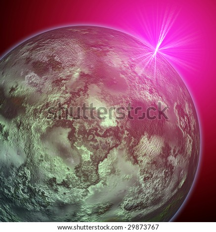 Composite image of an alien planet up-close
