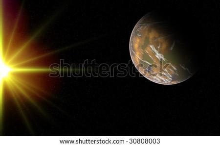 Composite image of an alien planet up-close