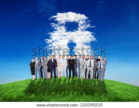 Composite image of business people standing up against cloud lock