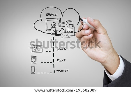 Composite image of businessman writing doodle against grey vignette
