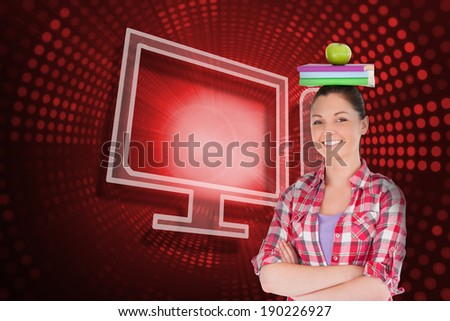 Composite image of computer and student against red pixel spiral