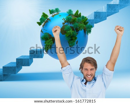 Composite image of happy man celebrating success with arms up on white background
