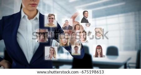 Composite image of headshots against computer generated image of empty board room