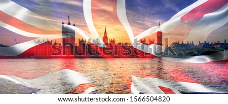 Composite image of Houses of Parliament, Westminster, Big Ben and Un ion Jack flag for UK General Election 2019
