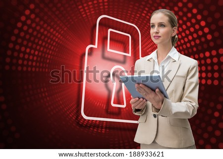 Composite image of lock and businesswoman using tablet against red pixel spiral
