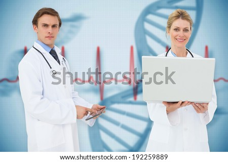 Composite image of medical team against blue medical background with dna and ecg