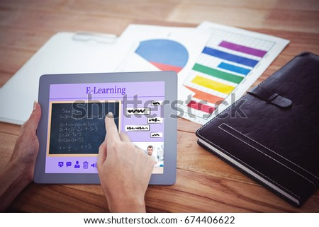 Composite image of online courses against over shoulder view of hipster woman using tablet - Shutterstock ID 674406622