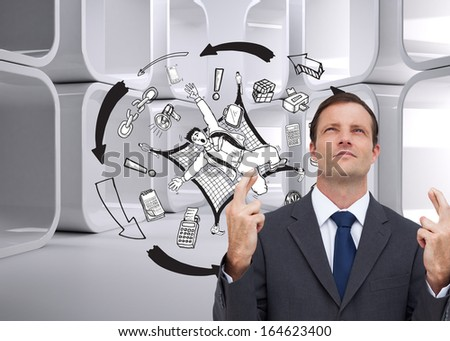 Composite image of serious businessman with fingers crossed is looking up
