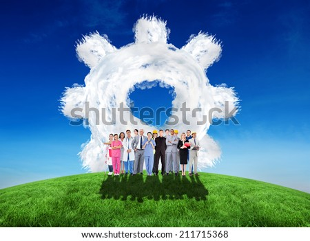 Composite image of smiling group of people with different jobs against cloud cog