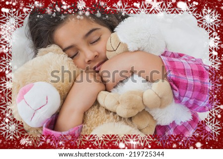 Composite image of snow frame against girl sleeping with stuffed toys in bed