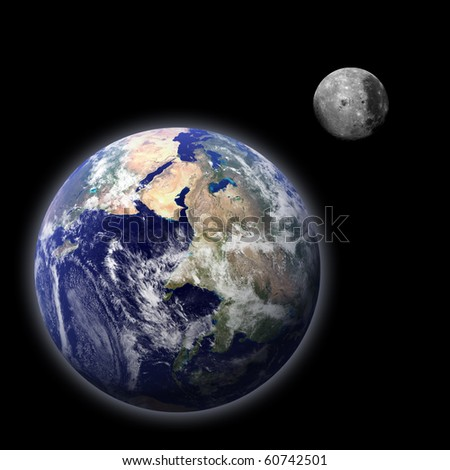 Composite image of the Earth and the Moon