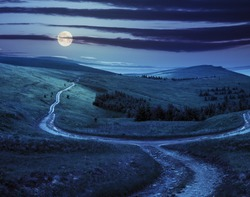 composite landscape. fence near the cross road on hillside meadow in mountains. few fir trees of forest  on sides of the road at night in full moon light