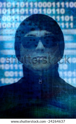 composite of a man wearing black sunglasses and hat with a technology binary background