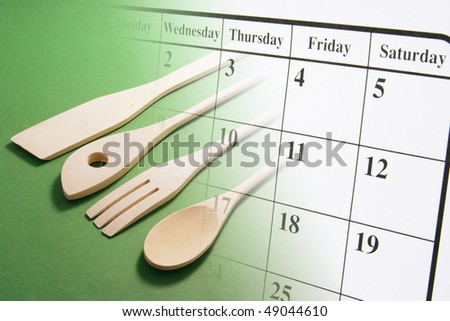 Composite of Calendar Page and Cooking Utensils