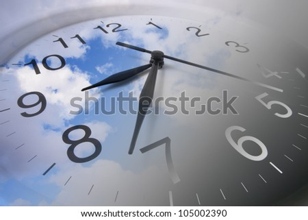 Composite of Clock and Clouds