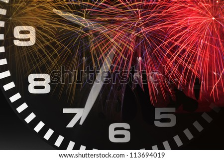 Composite of Clock and Fireworks