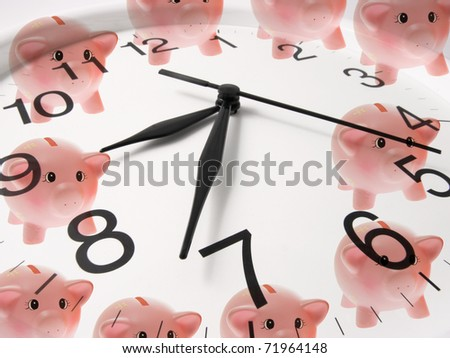 Composite of Clock and Piggy Banks