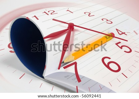 Composite of Clock, Note Pad and Pencil