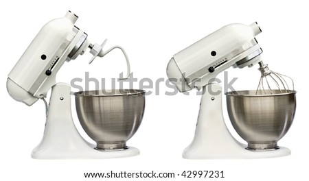 Composite of electric mixers with whip and bread hook isolated on white background.