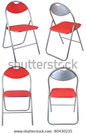 composite of four red folding chairs isolated on white