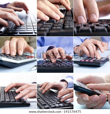 Composite of nine close-up images of businessmen hands using the technological devices keyboards of computers, mobile phones and calculators