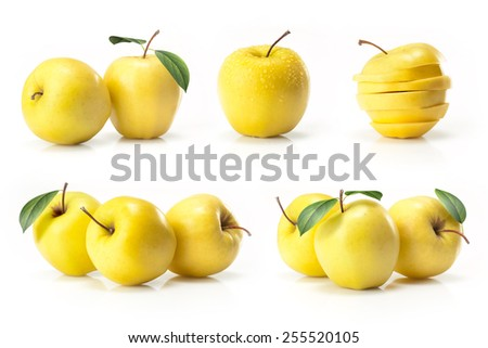 Composite of yellow golden apple isolated on white background
