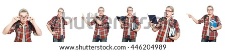 Composite photo of student with books #446204989