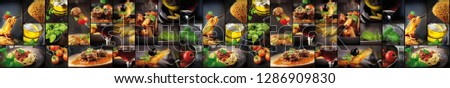 Composite picture of food. Many small images. Meat, vegetables, greens.