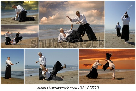 composite picture with  adults who are training in Aikido on the beach