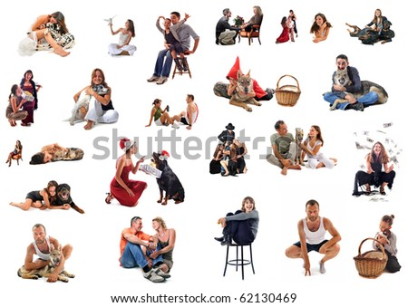 composite picture with people and dogs on a white background - stock photo