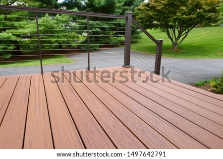 Composite Wood Deck with Metal Railing Stock photo ©