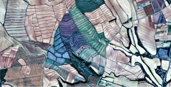 composition, allegory, tribute to Picasso, abstract photography of the Spain fields from the air, aerial view, representation of human labor camps, abstract, cubism, abstract naturalism,