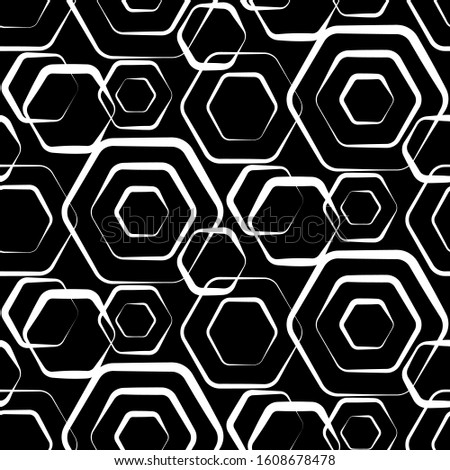 Composition black and white trellis. Geometric hexagonal seamless pattern. Simple monochrome graphic design. Repeating modern stylish texture. Endless background fashion grid. Repeated polygons prints