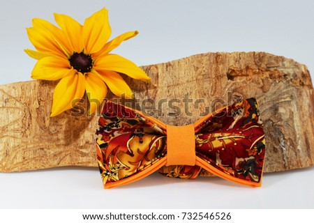 Composition: Extravagant orange bow tie, yellow flower and piece of sawn timber on a white background #732546526