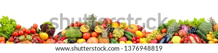 Composition fresh fruits and vegetables isolated on white. Glass skinali. #1376948819