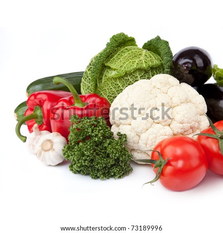 Composition fresh organic vegetables on the white background